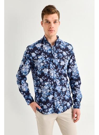 Avva Erkek  Baskılı Alttan Britli Gömlek A01Y2117 Lacivert